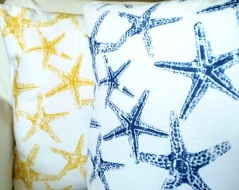 Yellow Navy Blue Starfish Pillow Covers Decorative Throw Pillows Nautical Cushions Navy Yellow White Starfish Beach Set of Two Various Sizes