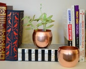 Set of Vintage Copper Succulent Pots / Candle Holders / Pen and Pencil Holder / Cups / Bookshelf Decor / Office Decor /
