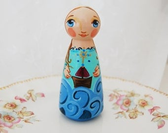 Maris Stella - Mary Star of the Sea Catholic Wooden Saint Doll - Made to Order
