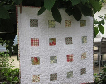 """QUILTED TABLE MAT, Small Baby Quilt, 3"""" Patches, 26.5"""" Square Quilt, Red Plaid, Teal Blue, White, Traditional, Country, Handmade"""