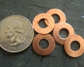 Copper Washers  9/16 inch OD  -- 1/4 inch Cut Out  Qty 5