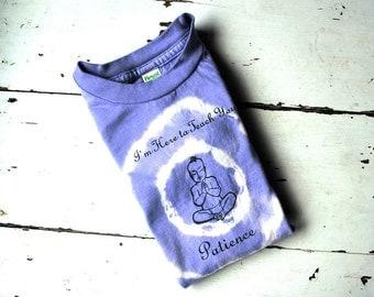 2T Kid clothes, Organic Short Sleeved Patience Buddha T Shirt - Lavender Purple - tie-dye yoga kids, girls shirt
