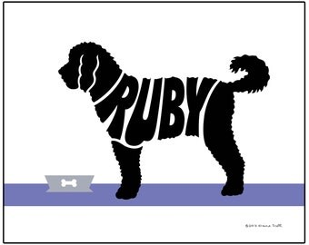 Personalized Labradoodle Print, Labradoodle Silhouette Gift, Modern Dog Art Print, Dog Lover Gift