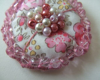 Liberty fabric, PINK, hand embroidered, Ring or Brooch, floral, by NewellsJewels on etsy