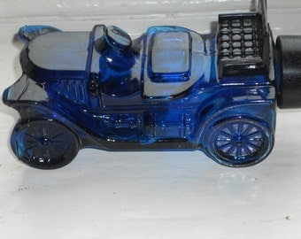 Vintage Blue Avon Car Bottle-Stanley Steamer Wild Country-NICE!!!
