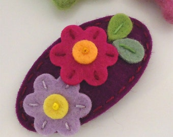 Felt hair clip -No slip -Wool felt -Flora -red purple