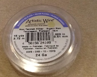 24ga Artistic wire non tarnish silver 15 yards