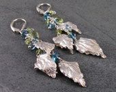 Long silver leaf earrings, handmade fine silver, London blue topaz and peridot earrings-eco friendly OOAK