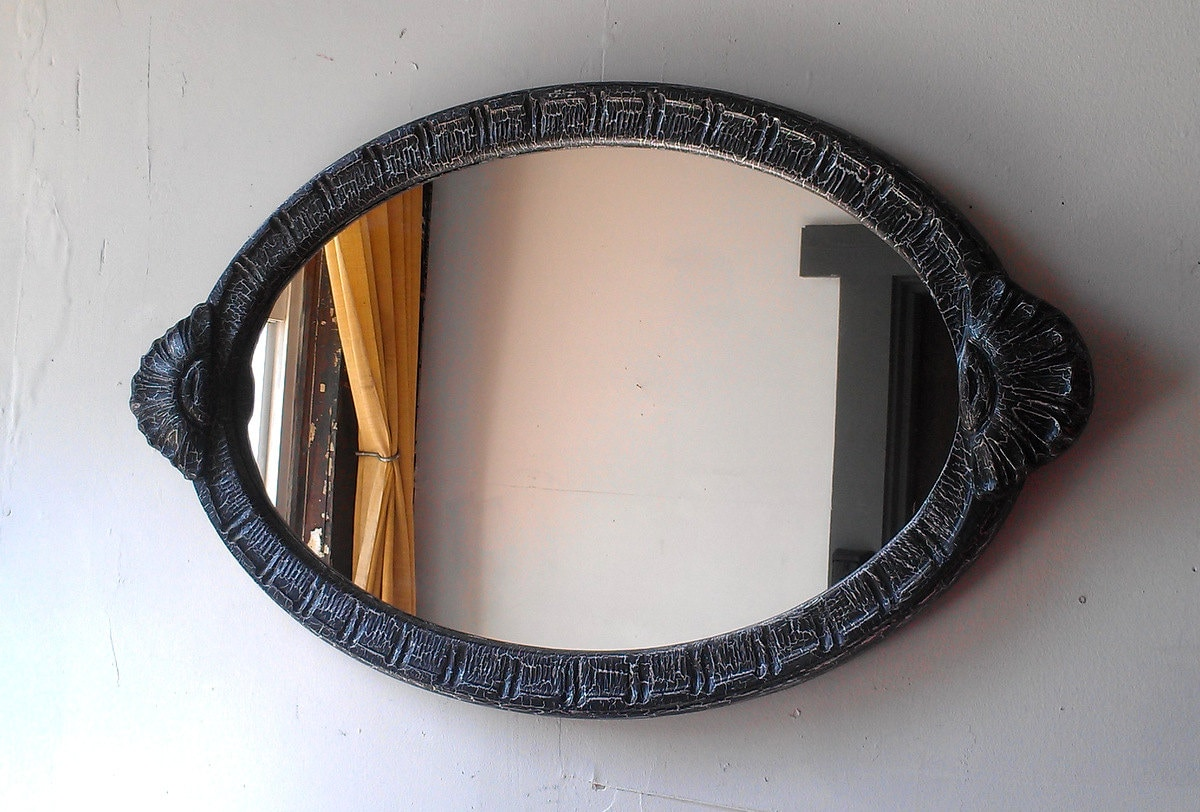 Large black mirror in antique art deco oval wood frame 32 by for Large black framed mirror
