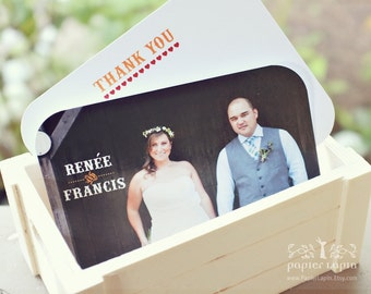 Woody eco-friendly thank you card / Set of 20 / your wedding picture, from both of us, flat note card, round corners