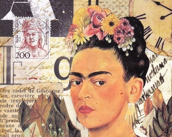 "Frida - an original mixed media collage 4"" x 6"""