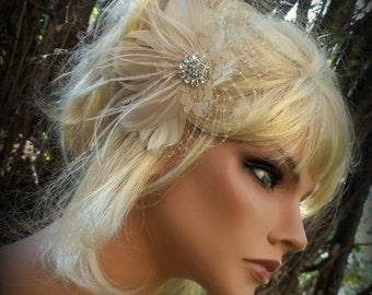 WEDDING FASCINATOR bridal hair fascinator, feathers french net, lace, rhinestone jewel - champagne, white, ivory wedding hair clip