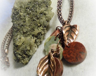 Multi Stone Wire Wrapped Antique Copper Viking Knit Necklace