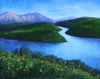 Mountain River Landscape Art Print 11x14 Giclee