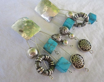 vintage earrings - sterling silver with accent beads - statement, dangle, southwest style
