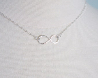 Infinity necklace in sterling silver, best friends, delicate modern jewelry