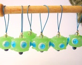 Knitting Stitch Markers - Set of 6 Handmade Bead Knitting Markers to Fit Up to US 15 Needles - Celadon and Blue
