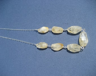 Sunshine - Citrine Nugget and Sterling Silver Necklace. November birthstone Necklace.
