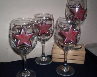 Four Painted Glass Wineglasses Barn Star Hand Painted Wine Glasses Set of 4 Barnstars With Vines & Berries by Lisa Hayward