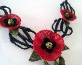 Red  Necklace, red poppy,red crochet necklace, christmas necklace,fiber necklace,red jewelry,poppy,burgundary red , statement,red poppy bib,