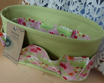 Purse ORGANIZER Insert SHAPER / Froggie Print on Celery / STURDY / 5 Sizes Available / Check out my shop for more colors & styles