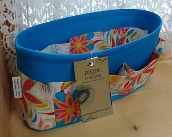 Purse Insert ORGANIZER SHAPER / Floral #6 on Turquoise / STURDY / 5 Sizes Available / Check out my shop for more colors & styles