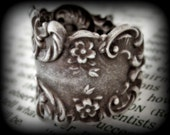 Antique Silver Thumb Ring with Floral Design Motif Adjustable from size 9.5 - 13.5 for Large Fingers