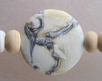 PENDANT LENTIL - Ivory Etched - 9 Handmade Lampwork Glass Beads - Inv140-A1