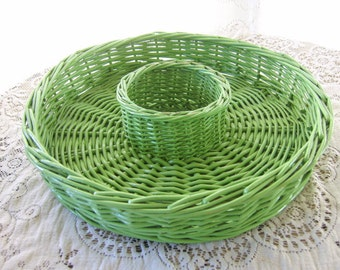 Vintage LIme Green Wicker Serving Tray/Chip Dip Platter