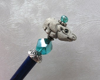 Hattie the HIppo Beaded Hair Stick
