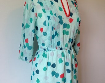 Lovely Vintage Day Dress In A Mint Green With Green And Red Leaves