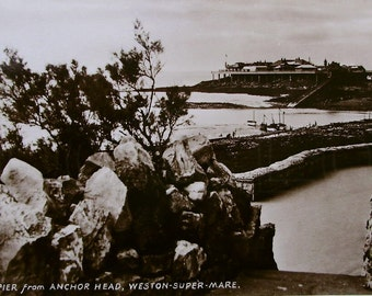 Old Pier from Anchor Head, Weston Super Mare, Gt. Britain - Unused Vintage Postcard RPPC