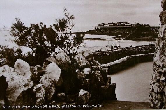 Old Pier from Anchor Head, Weston Super Mare, Gt. Britain - Unused Vintage Postcard RPPC
