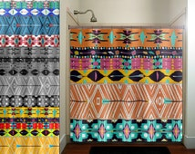 native tribal aztec american southwestern shower curtain bathroom decor fabric kids bath window curtains panels valance bathmat