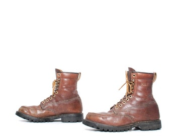 mens size 8.5 RUSTIC brown leather 90's WORK gorilla brand boots