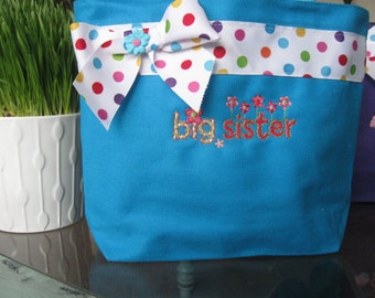 Big Sister tote bag AQUA BLUE- personalize with name at no extra charge