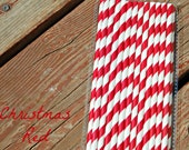 Paper Straws Vintage Style Party straws Striped Straws Red