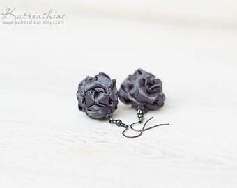 Dark Grey fabric Earrings