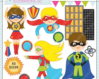 Save the Day Heroes Cute Digital Clipart for Commercial or Personal Use, Super Hero Clipart, Superhero Graphics, Hero