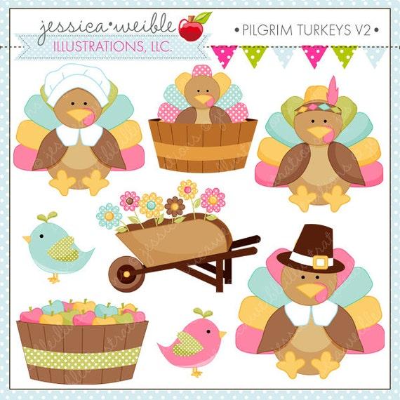 Pilgrim Turkeys V2 Cute Digital Clipart for Commercial or