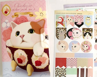 Choo Choo Cat Stickers in File Case Ver.3 / Point - 8 sheets (4.7 x 7.9in)
