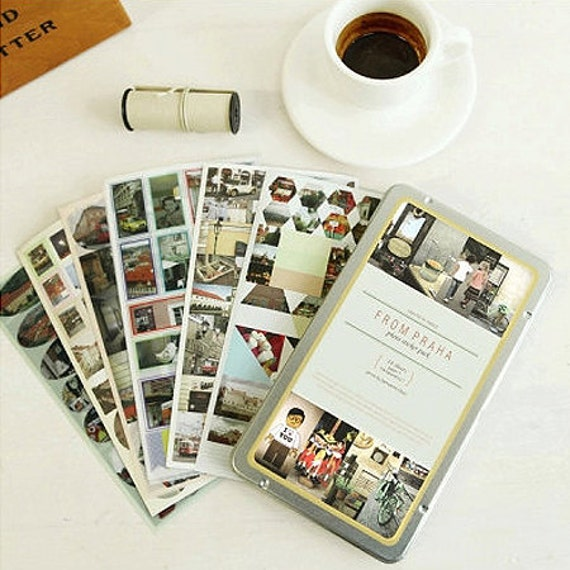 Photo Stickers in Tin Case / From Praha - 14 sheets (4.2 x 7.4in)