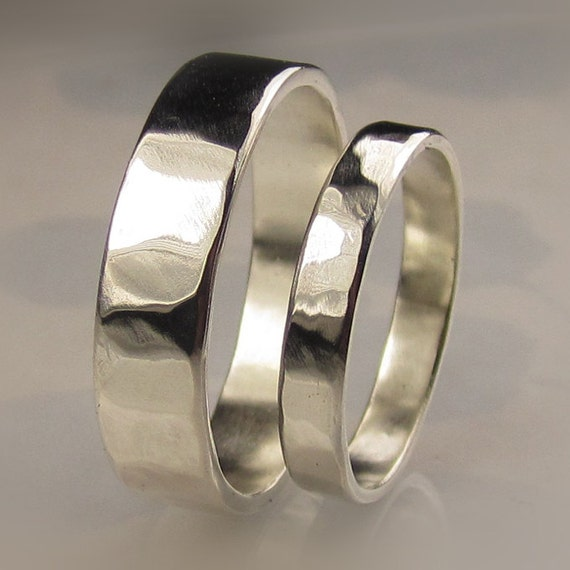 Recycled Palladium Sterling Silver Wedding Bands Set By Artifactum