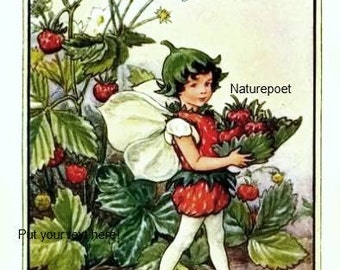 Strawberry Fairy  Digital Art Downloadable Printable Image Instant Download