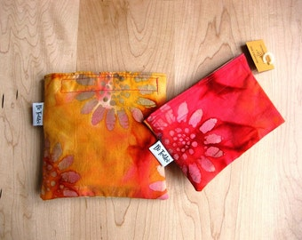 Md/Sm Batik Sunshine Set Snack Sandwich Baggie Bag Set with water resistant lining