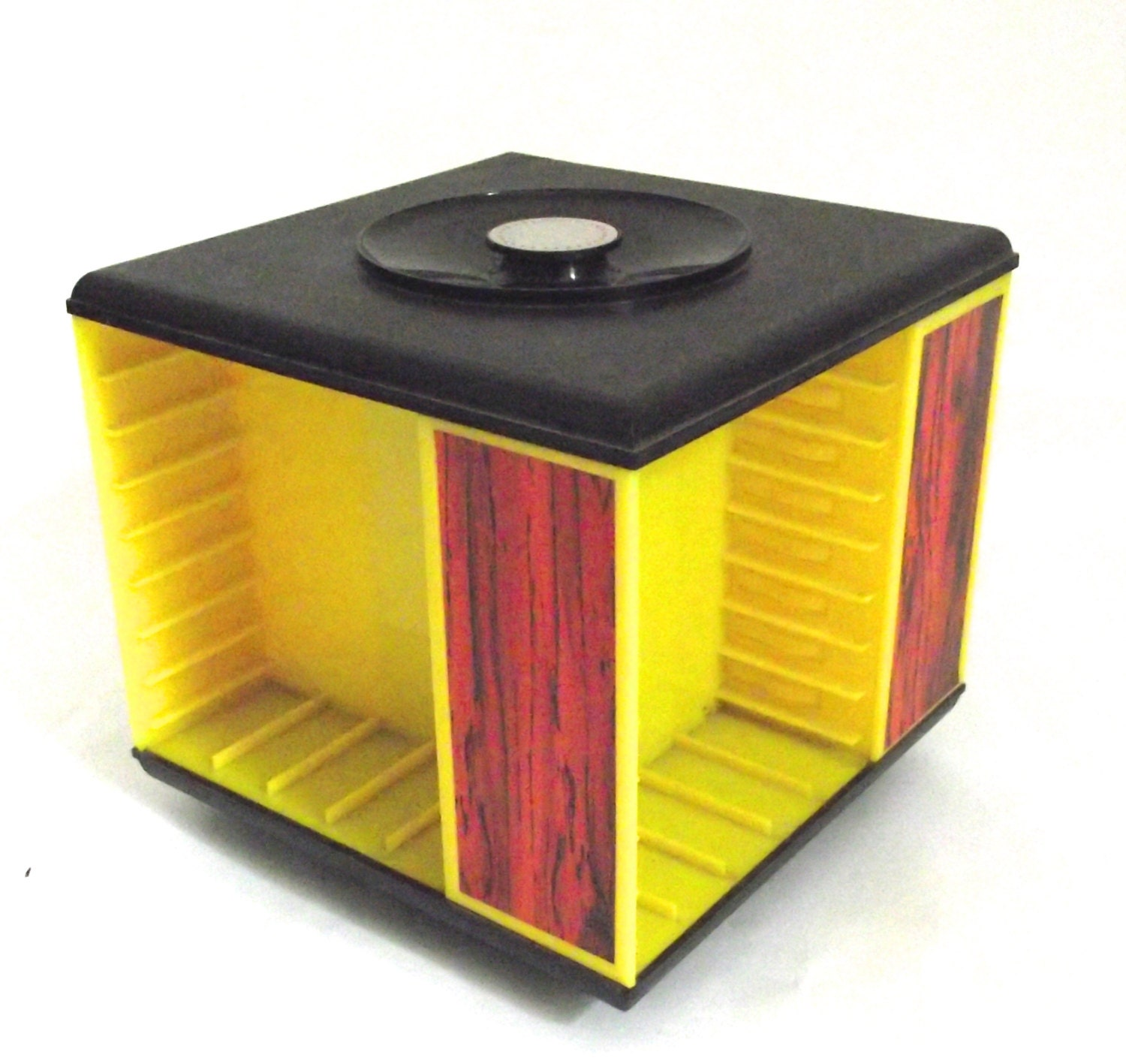 Vintage Carousel Cassette Tape Holder In Yellow Plastic With