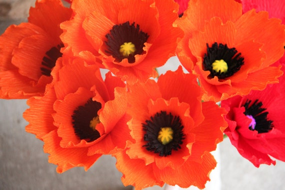 Poppy Flowers Orange Poppy Paper Poppy Crepe Paper