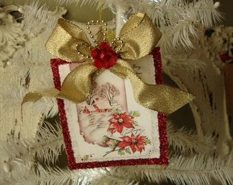 Vintage Christmas card paper ornament for Mother Gift for Mom Christmas home decor elegant red and gold vintage card ornament snowy scene