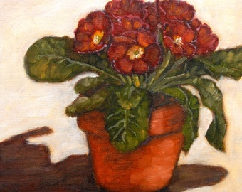 Red Primrose - original oil painting