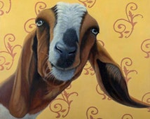Funny Goat Print - Expressive Animal Art - Funny Goat Art -10% benefits animal rescue